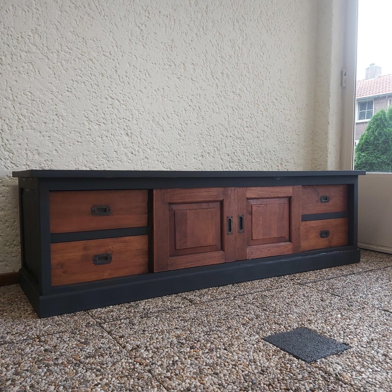 Industrial teak TV furniture