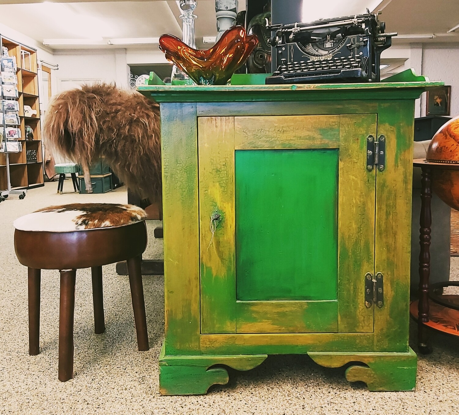 French patinated green cabinet