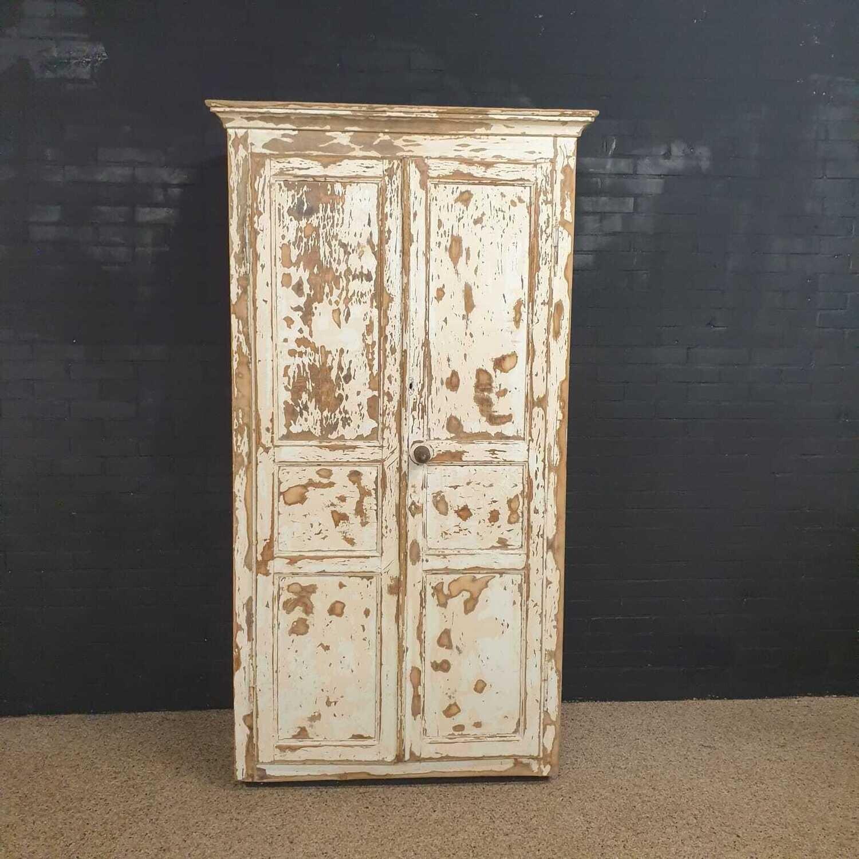 Old French brocante wardrobe - wardrobe patinated