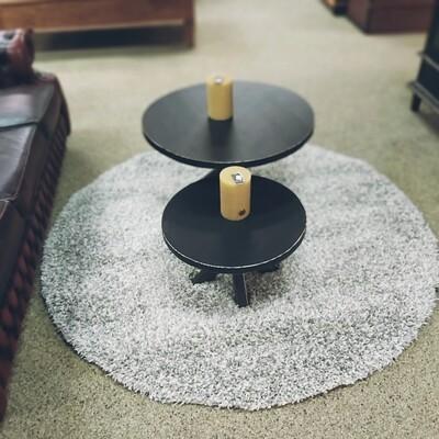 Vloerkleed rond - Hoog polig grijs / wit ( 160 rond)