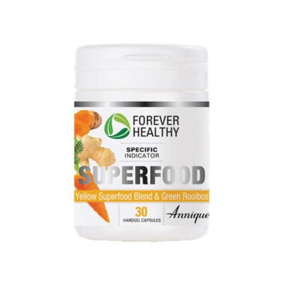Annique Forever Healthy Superfood Yellow Superfood blend and Green Rooibos 30 Hardgel Capsules