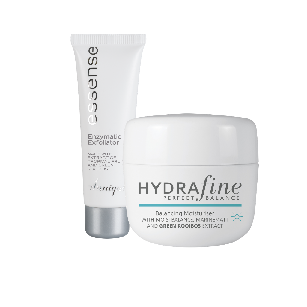 Annique Hydrafine Balancing Moisturiser 50ml [Paraben Free] with free Essence Enzymatic Exfoliator 50ml worth R249
