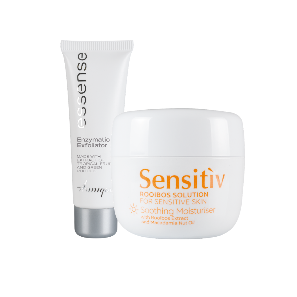 Annique Sensitiv Rooibos Solution Soothing Moisturiser 50ml for Sensitive Skin with free Essence Enzymatic Exfoliator 50ml worth R249