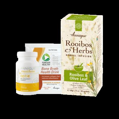 Annique OptiC 30 Capsules + Bone Broth 30g + Olive Leaf Tea 50 - Immune Boosting Trio