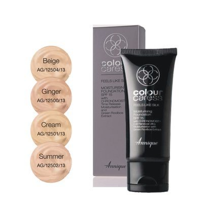 Annique Feels Like Silk Moisturising Foundation SPF15 30ml - Select between Ginger | Cream | Summer | Beige