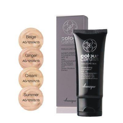 Annique Feels Like Silk Moisturising Foundation SPF15 30ml - Select between Ginger | Cream | Summer | Beige