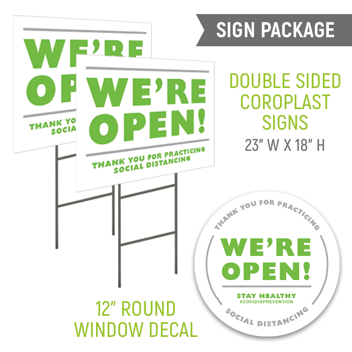 We're Open Sign Package