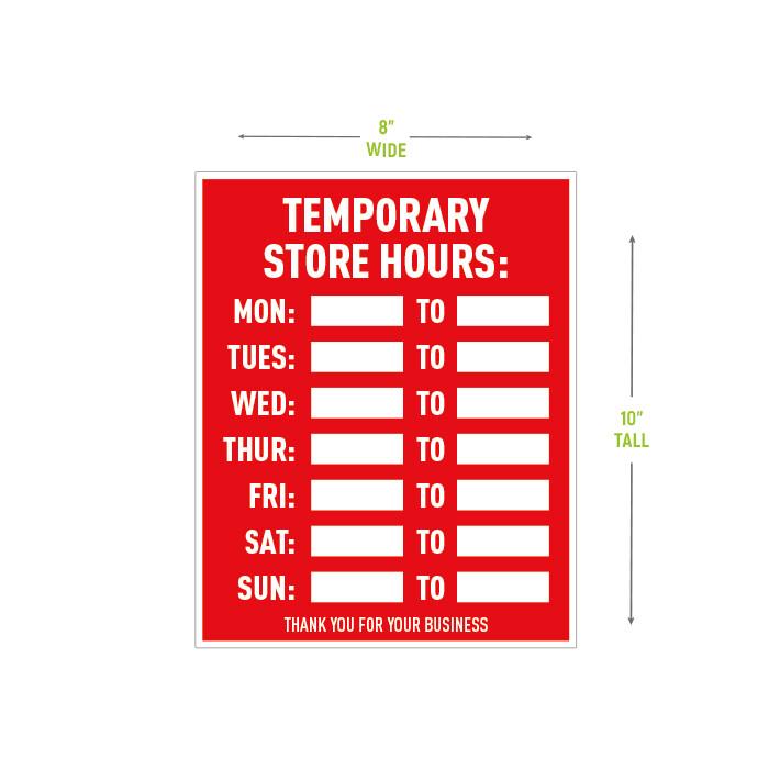 Temporary Hours Door Decal