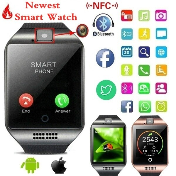 2021 HOT Product Q18S Smart Wrist Watch with Camera Facebook Sync Sms Smart Watch Compatible with iPHONE & Android, Smartphones