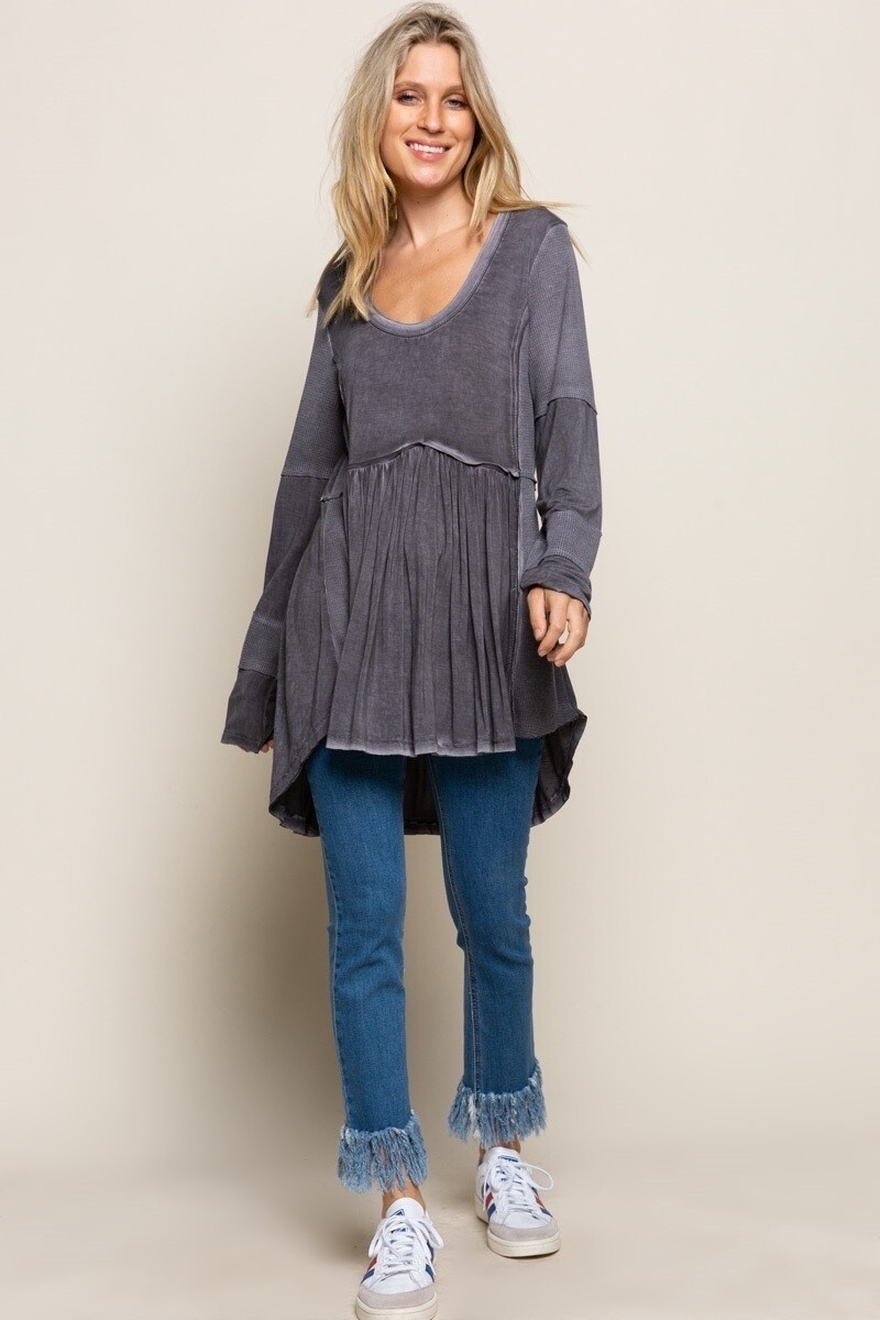 Charcoal Raw edge detail boho knit top