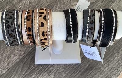 Rhinestone Stripe Cuff Bracelet