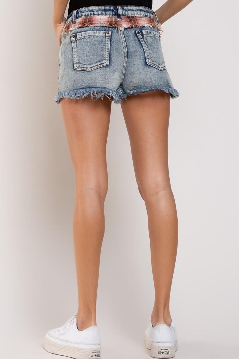 Acid Wash High Waist Jean Shorts
