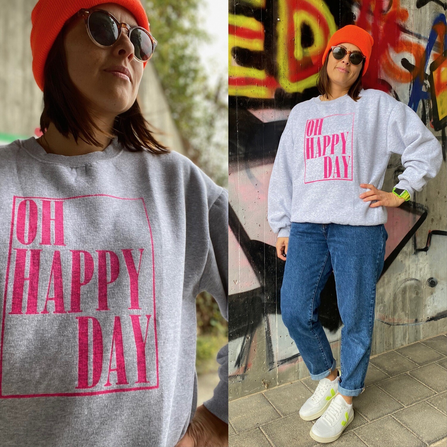 Oh Happy Day - Sweater DIY Unikat grau / neon-pink