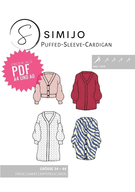 Puffed Sleeve Cardigan -eBook Schnittmuster (PDF A4 und A0 Druck) 