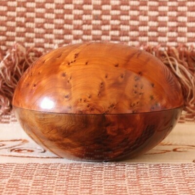 Marquetry Wood Pebble Box