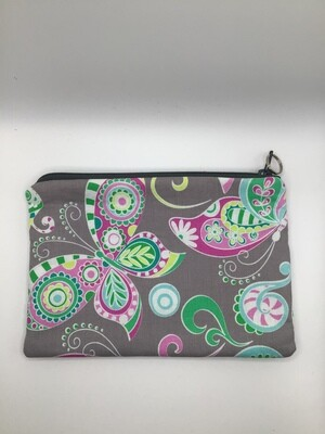 Gray Butterflies Zipper Pouch