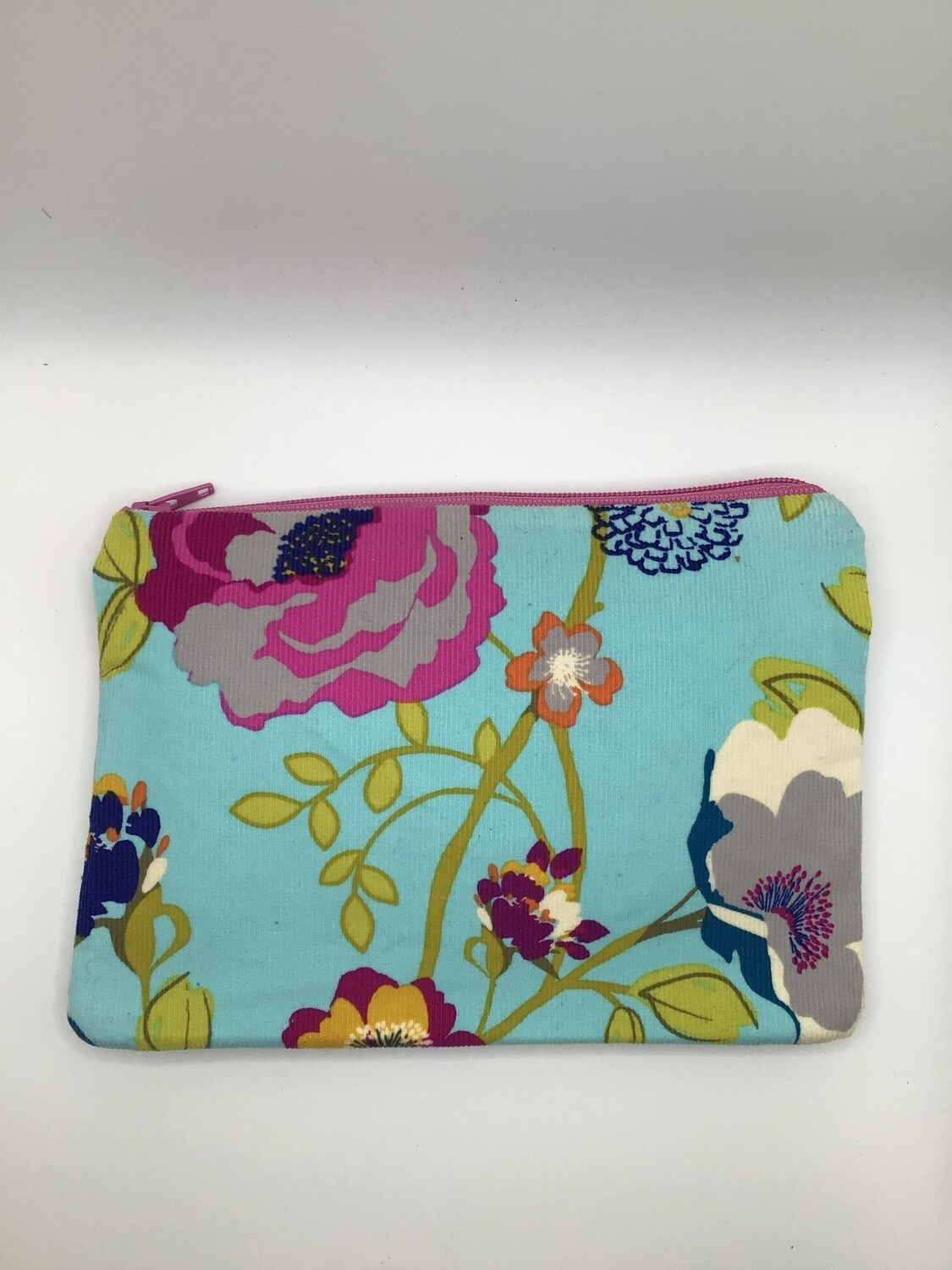Turquoise with flowers zipper Pouch