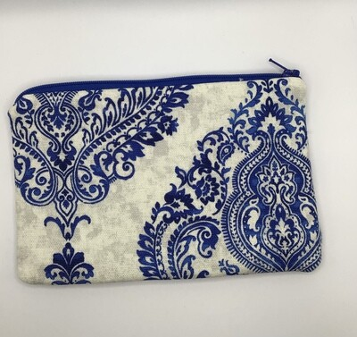 Blue Design Zipper Pouch