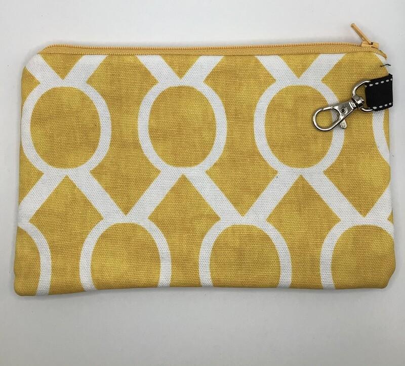 Yellow/white Zipper Pouch