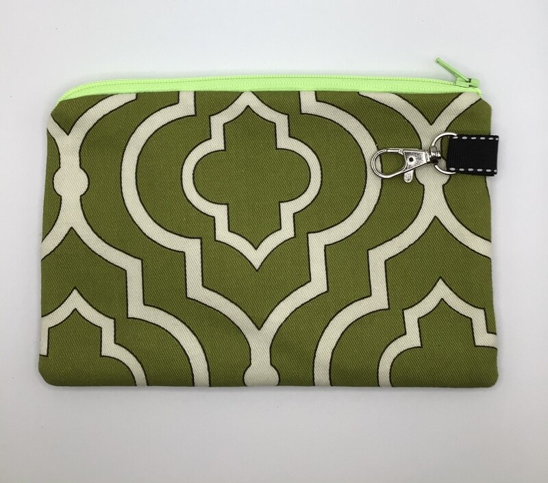 Green/white  Zipper Pouch