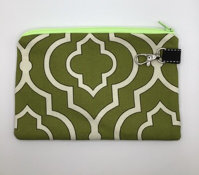 Green/white  Zipper Pouch