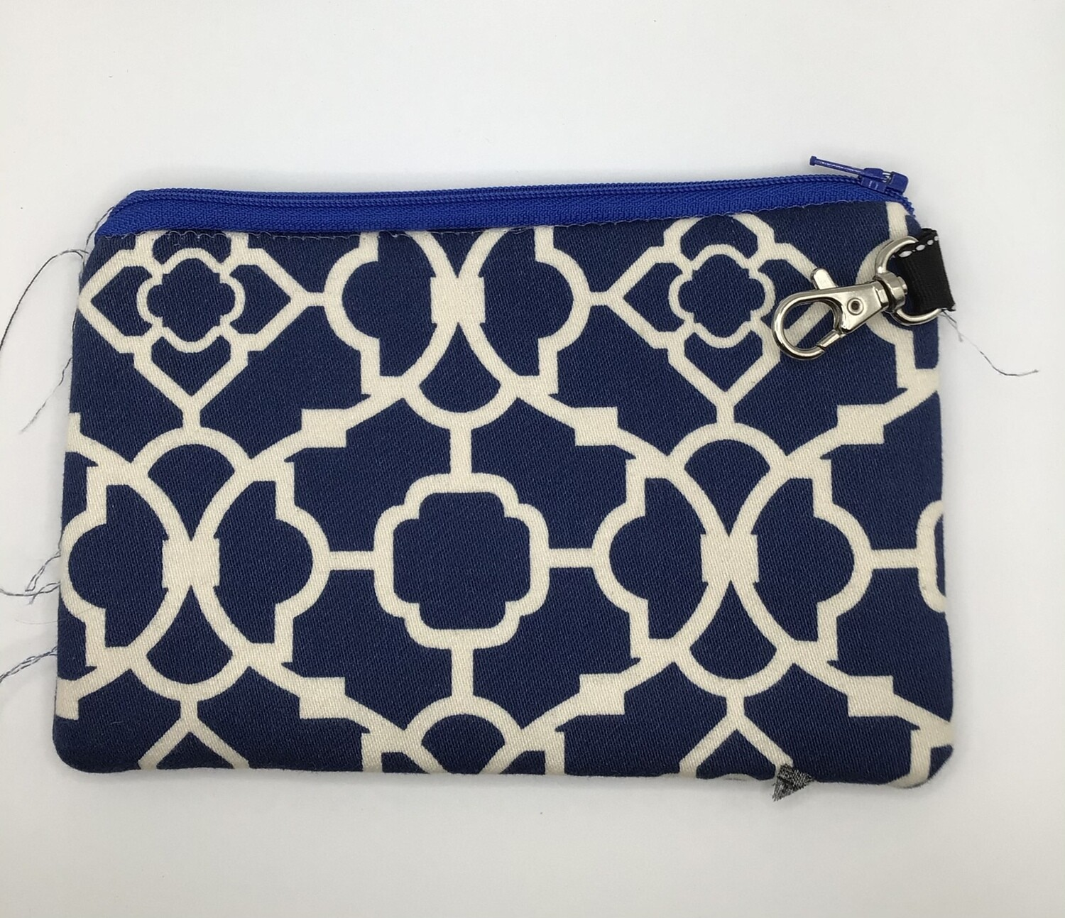 Navy/White Zipper Pouch
