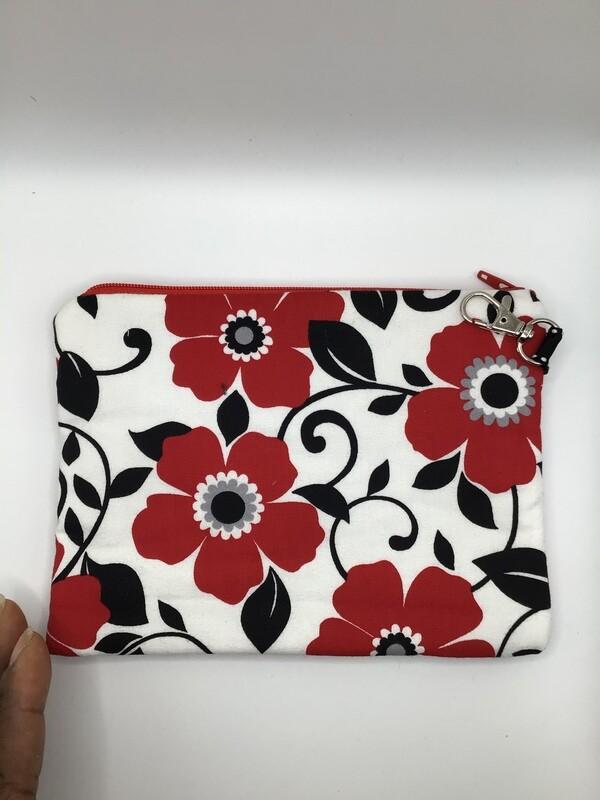 Red Flowers Zipper Pouch