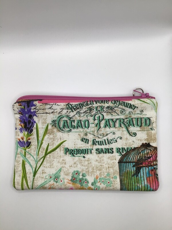 French Garden Zipper  Pouch