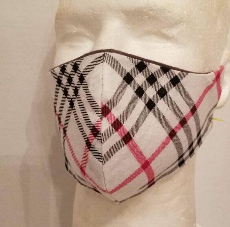 Ivory Plaid Fabric face mask