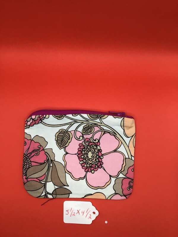 Pink flowers  zipper wallet