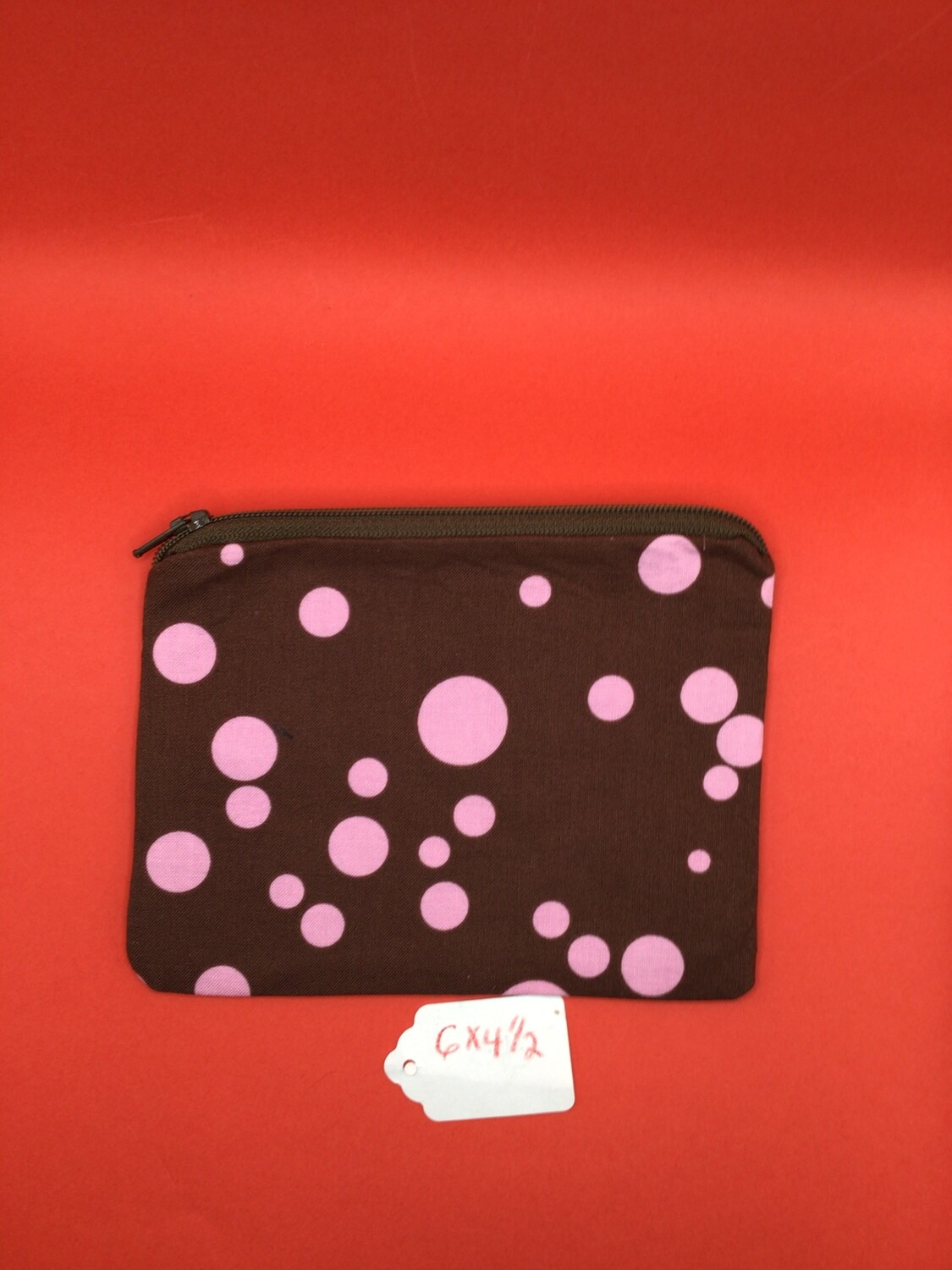 Brown/pink dots zipper wallet