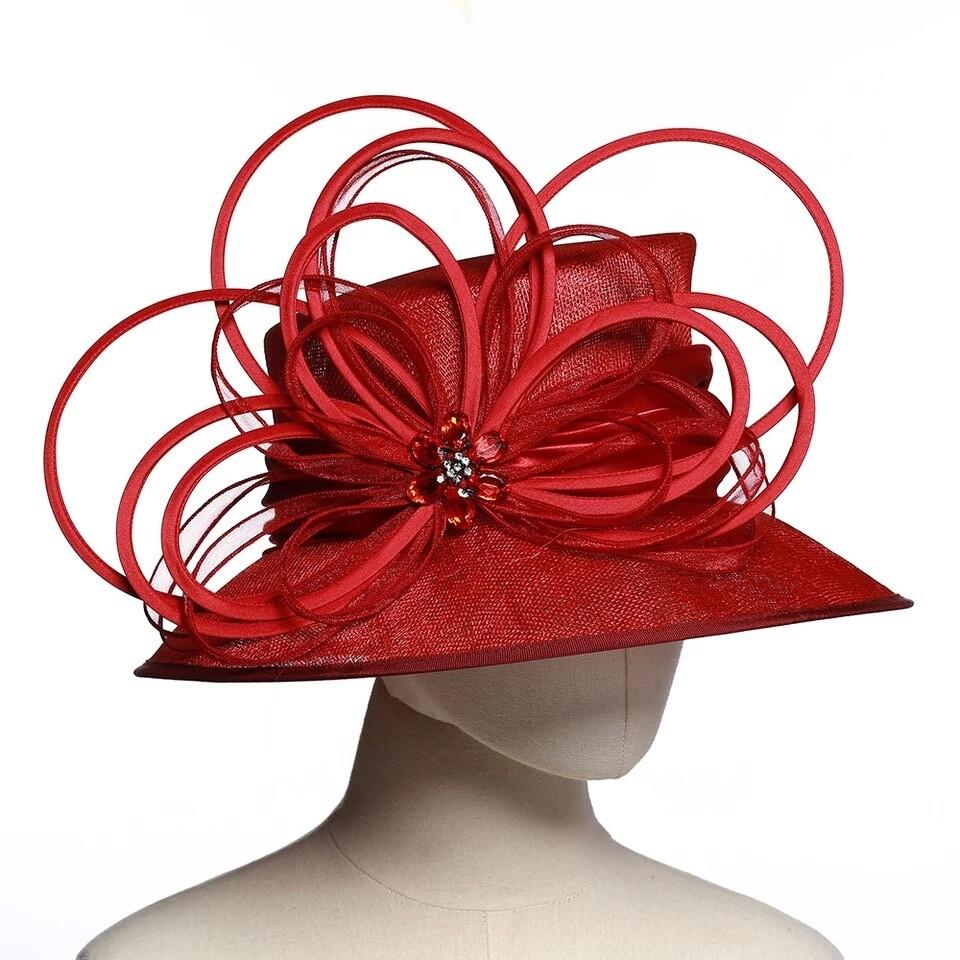 Fancy Red women fascinator hat
