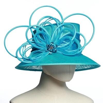 Fancy Turquoise women fascinator hat