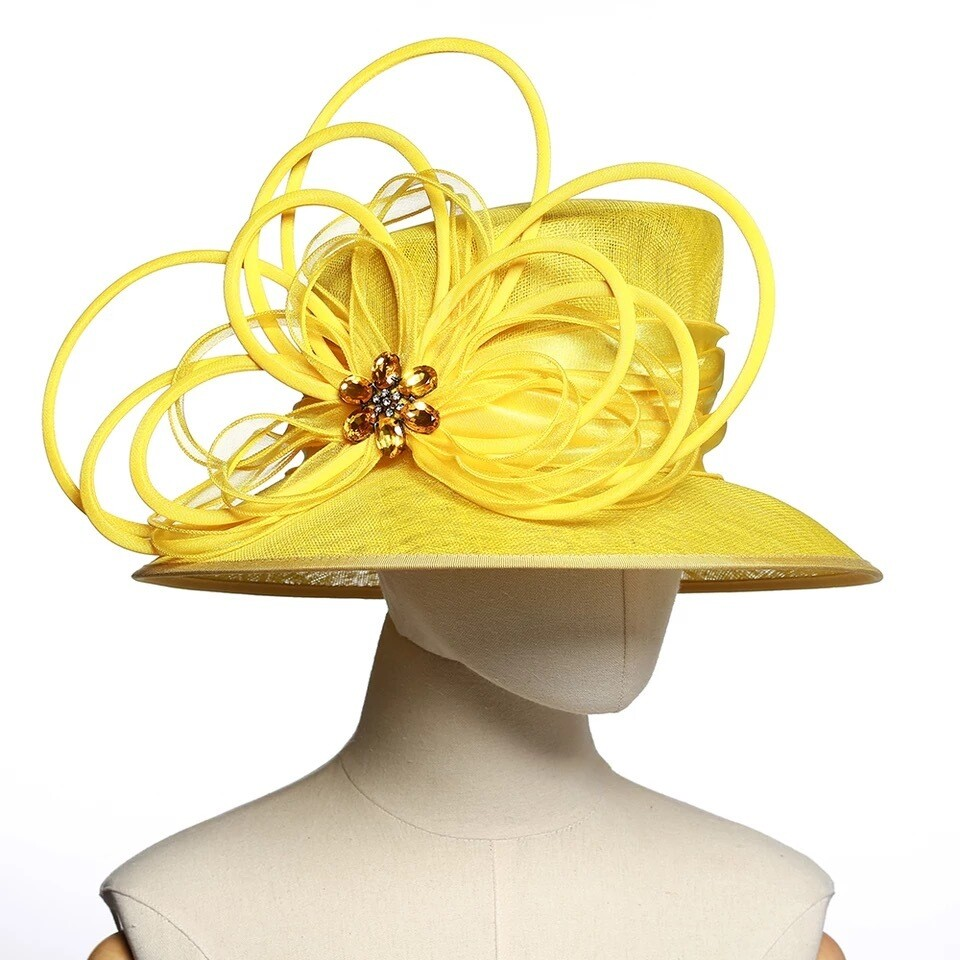 Fancy Yellow women fascinator hat