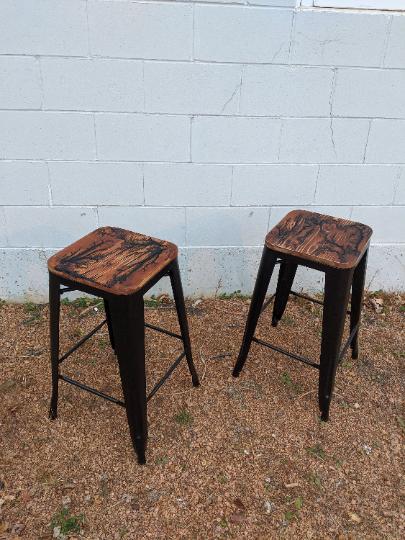 Coastal Redwood - Electrocuted Set of Barstools with Metal Frames