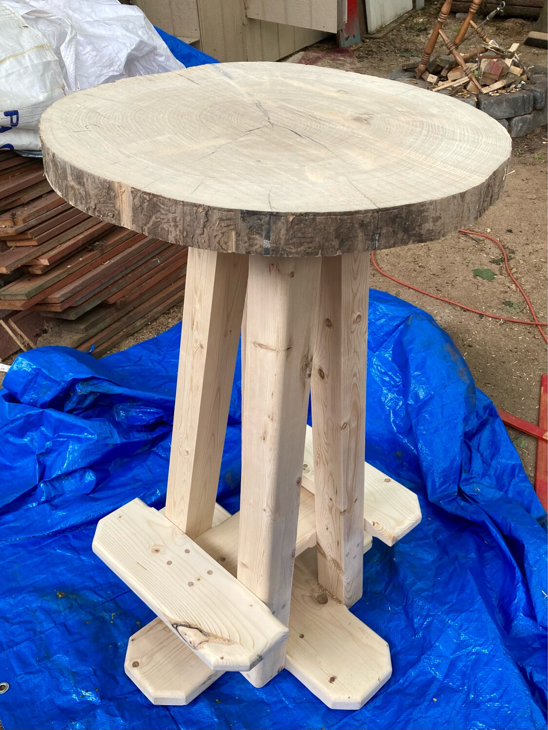 Live Edge Bistro Table With Footrests