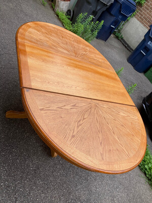 Extendable Dining table With Pedestal Legs