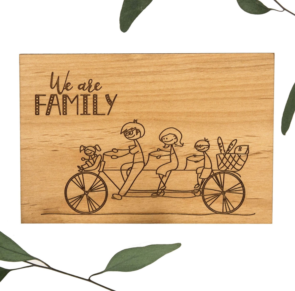 We Are Family Real Wood Card