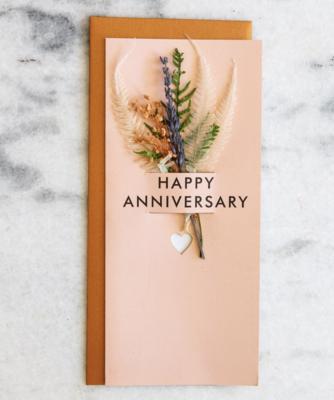Happy Anniversary Dried Flower Card