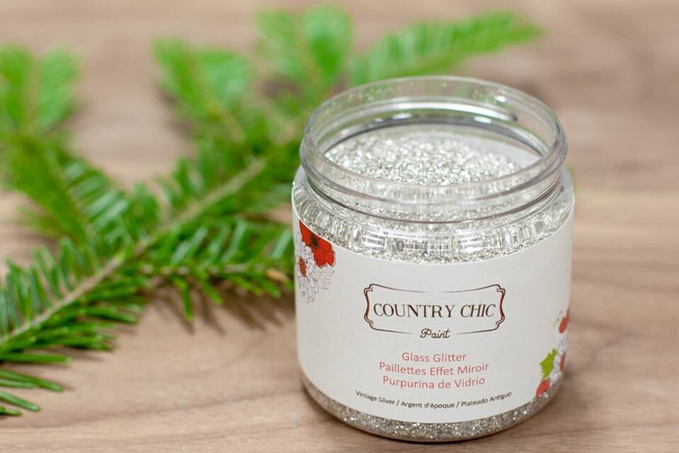 Country Chic Glass Glitter Vintage Silver