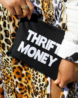 Black Thrift Money Canvas Pouch