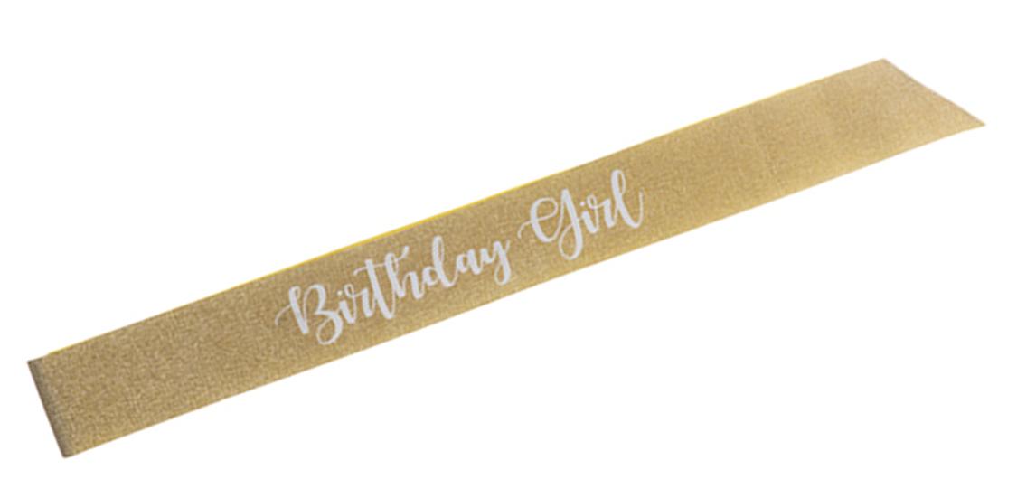 Birthday Girl Sash (Gold Glitter/White)