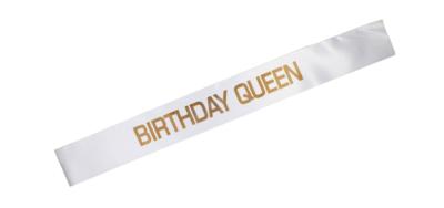 Birthday Queen Sash (White/Gold)