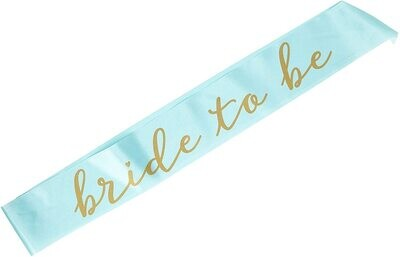 Bride to Be Sash (Mint/Gold)