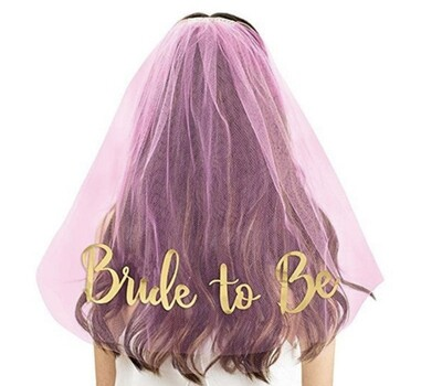 Bride to Be Veil (Pink/Gold)