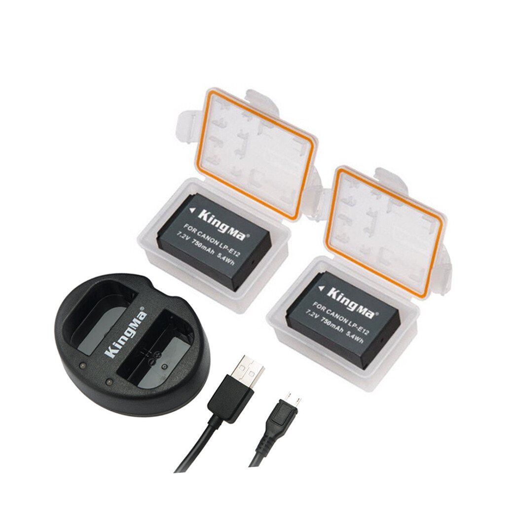 Kingma Battery & Charger Kit LP-E12 For Canon EOS M ( แบตเตอรี่ 2ก้อน+ชาร์จเจอร์แบบคู่ ) - รับประกันร้าน Digilife Thailand 3 เดือน