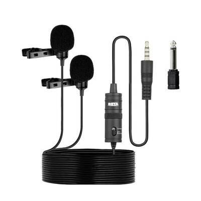 Boya BY-M1DM ( Mobile & Camera Dual Lavalier Microphone ) แบบคู่ -ไมค์หนีบปกเสื้อ, ไลว์สด, วิดีโอ- รับประกันร้าน Digilife Thailand 1ปี
