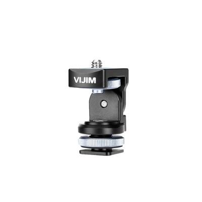 Vijim VK-2 Hot Shoe อลูมิเนียม 360องศา พร้อมตัวยึดและสกรู 1/4 นิ้ว ต่อกับกล้อง ไม้เซลฟี่ , ขาตั้ง , ขาตั้งกล้อง