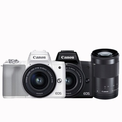 Canon Camera EOS M50 Mark II Double Kit (15-45, 55-200 mm.IS STM) - รับประกันร้าน Digilife Thailand 1ปี