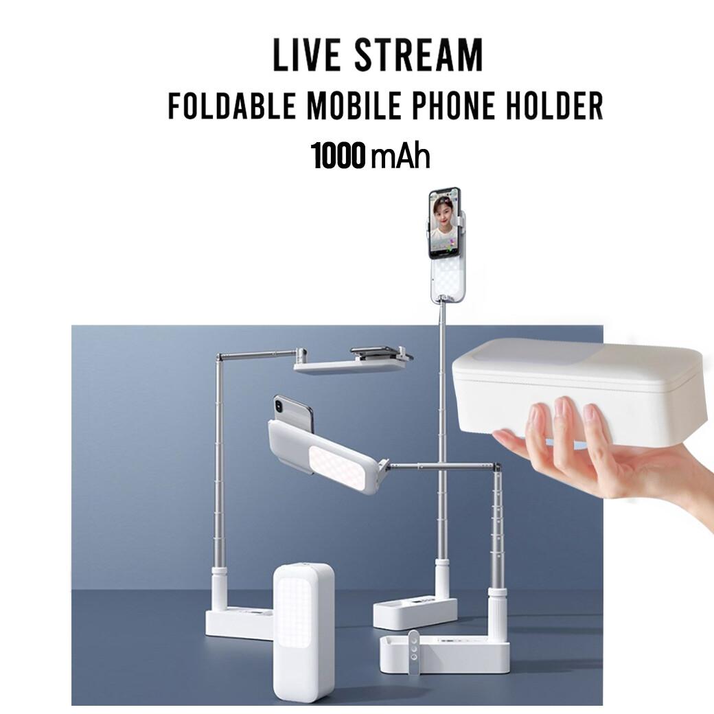 Live Steam Foldable Mobile Phone Holder V6 - ขาตั้งโทรศัพท์มือถือ แบบพกพา มีแบตในตัว 1000 mAh